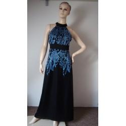 Modré luxusní splývavé šaty...