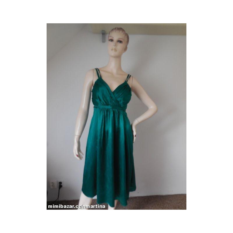 33080961cf18 New look luxusní smaragdové šaty V. 36 Hedvábí !!!